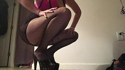 Fishnets and Stripper Heels Sexy Tease..