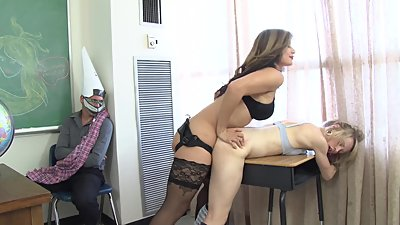 Hot teacher lesbian cuckold with..