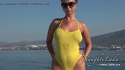 NaughtyLada Sheer when wet swimwear..