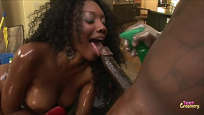Big Ebony Booty Rides Big Black Cock..