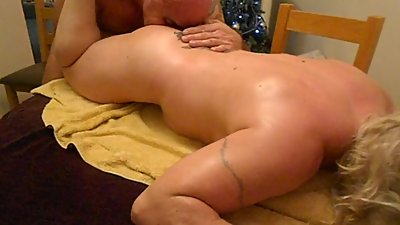 FBB gets oily body rub then her Arse..