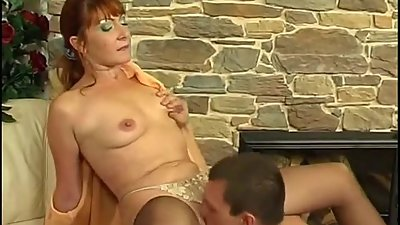 Redhead maid and guy