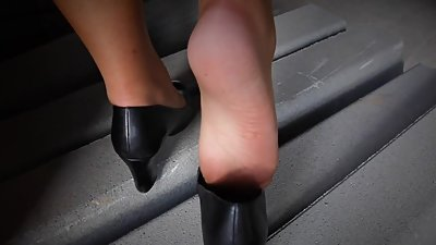 horny hard foot fuck in soft nylons
