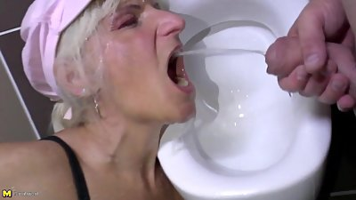 Perverted moms piss and take cocks in..