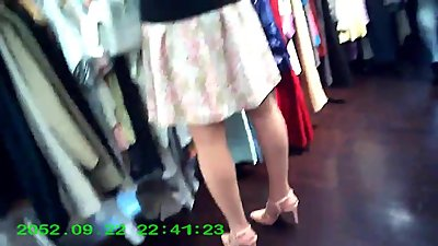 candid lady in pantyhose shopping