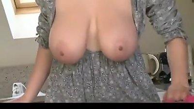 Her Big Boobs Fall Out While Cleaning..