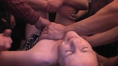 Slim blonde wife gets gangbanged by..