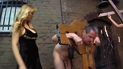 Blonde Mistress and Two Bisexual Slaves